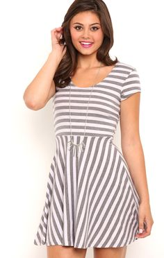 Deb Shops stripe knit cap sleeve skater dress