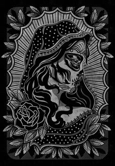 Black and white tattoo related art. I started to make this style mostly inspired be Mike Giant and Adam Jacson. So most art are related to art of these artists. Sugar Skull Tattoos, Sugar Skull Art, Sugar Skulls, Candy Skulls, Los Muertos Tattoo, Azteca Tattoo, Day Of The Dead Art, Blue Tattoo, Skull Artwork