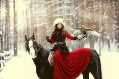 """""""Lady-in-Red ~ On Horseback ~ With Her Bird."""" (Photo By: Margarita Kareva on 500px.)"""