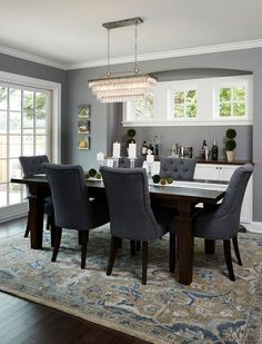 BM Deep Silver Dining Room With Dark Wood Floors, Beautiful Patterned Rug  And Blue Chairs And Dark Wood Table, Benjamin Moore Deep Silver