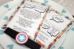 Vintage Marvel/DC Comic Book Wedding Invitation Set  This listing is for x1 Black and White Marvel/DC Comic Book Wedding Invitation Set,