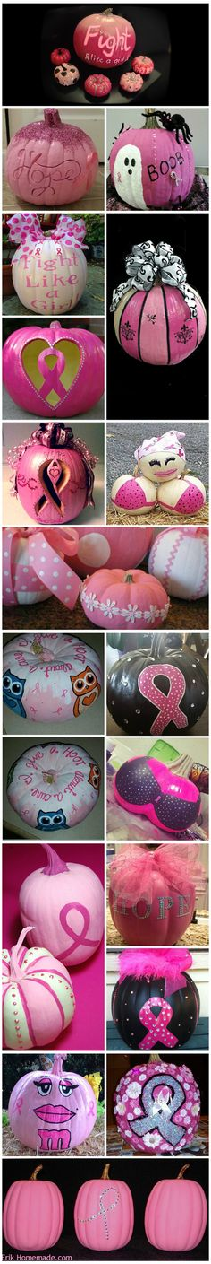 Take A Look At All These Different Pumpkins That Are Raising Breast Cancer Awareness! They Look Fabulous! | Halloween 'Pink-O-Ween' Theme Party Decorations & Ideas