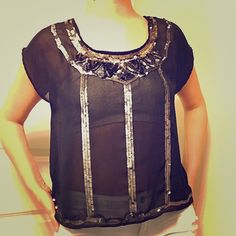 Sheer sequence black top with open back Sheer black sequence top with an open back. I wear with either a nude or black bandu. This top is a size L. I usually wear a M I like it a little loose on me. Cute for a night out and nice when it's warm outside. Would look great with a black jacket. Decree Tops Blouses