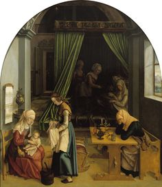 1520 Anonymous (Germany) - The Birth of Mary Medieval Furniture, Blue Pillows, 16th Century, Storyboard, Anonymous, Painting & Drawing, Renaissance, Photo Art, Birth
