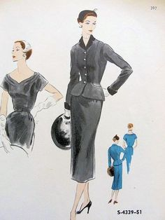 1950s DINNER  COCKTAIL SLIM DRESS, FITTED JACKET PATTERN LOVELY SHAPED NECKLINE, FLATTERING FIGURE SHOW OFF JACKET VOGUE SPECIAL DESIGN PATTERNS 4339 Bust 32 and 38