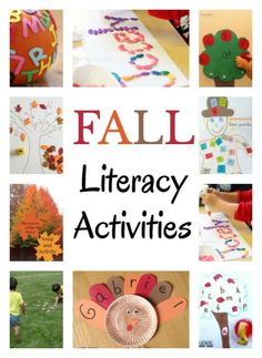 Lots of fall literacy activities to work on learning the alphabet, teaching a child their name, reading, book lists and more ideas! I can't wait to do some of these crafts with my kindergarten daughter. Autumn Activities For Kids, Fall Preschool, Preschool Crafts, Kindergarten Literacy, Early Literacy, Literacy Centers, Learning The Alphabet, Kids Learning, Alphabet Books