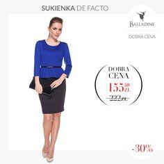 Elegancka sukienka z baskinką będzie idealnym strojem na świąteczne spotkanie w gronie rodzinnym lub wystawną kolację. Baskinka podkreśli wasze piękne kobiece kształty a ciemniejszy dół zatuszuje zbędne kilogramy.  Sukienka De Facto | http://goo.gl/iHpfFo