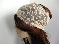 Wide Stretch Lace Headband Beige Flowers Head Wrap Women's Hairband Traditional Head Covering