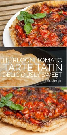Tarte Tatin is a french dessert classic. This tarte tatin has a twist since it is actually a main or a very elegantis a french dessert classic. This tarte tatin has a twist since it is actually a main or a very elegant Mini Desserts, French Desserts, Plated Desserts, Vegan Tomato Recipe, Tomato Tarte Tatin, Vegan Christmas Dinner, Vegan Foods, Vegan Meals, Vegan Recipes Easy