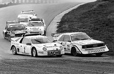 Three Ford one Audi Sport quattro one MG Metro and one Peugeot 205 pictured competing in the 1989 Rallycross EC round atMelk. Dig that spoiler on the Quattro. Audi Quattro, Rally Raid, Go Ride, Audi Sport, Car Pictures, Car Pics, Photos, Peugeot, Race Cars
