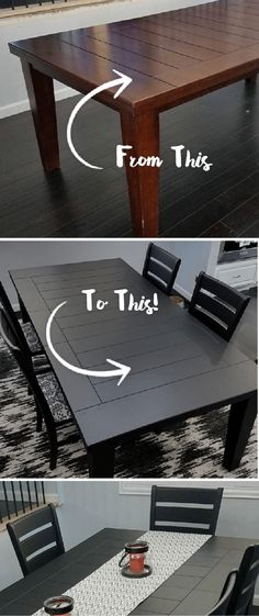 You can refinish your dining room table set in no time at all thanks to this easy DIY dining room table makeover from Brittany, of A Spark of Creativity. Brittany painted her table with a modern shade of Black to complement the neutral gray walls in her home. Click here to see the rest of Brittany's easy tutorial. #diningroomfurniture