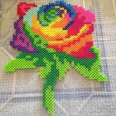 Rainbow rose perler beads by mer_mer_cat