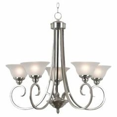 "Cast a warm glow in your dining room or master suite with this classic chandelier, showcasing curving arms and a brushed steel finish.  Product: ChandelierConstruction Material: Steel and glassColor: Alabaster and brushed steelFeatures: cUL listedAccommodates: (5) Incandescent bulbs - not includedDimensions: 26.25"" H x 28"" Diameter"