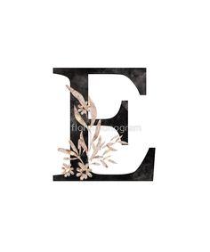 Monogram E Black Gold Flowers And Foliage by floralmonogram e harfi 'Monogram E Black Gold Flowers And Foliage' by floralmonogram E Letter Design, Monogram Design, Letter Art, Lettering Design, Hand Lettering, Bullet Journal Font, Monogram Shirts, Framed Prints, Art Prints