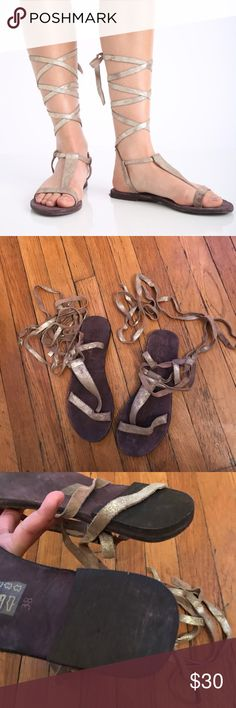 Free People Dahlia Lace Up Sandals Never worn• size 38 on shoe but fits like a 7• NO trades Free People Shoes Sandals