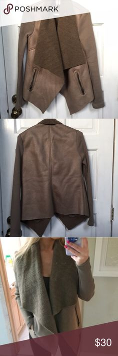 Faux shearling draped coat Faux shearling open draped coat with fabric arms and faux suede body. Perfect condition Forever 21 Jackets & Coats