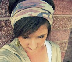 Simple Boho Wide Stretch Headband  Camouflage Burnout by LCDecorStudio, $10.00