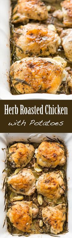Herb Roasted Chicken Thighs with Potatoes So easy! Chicken thighs, slathered in herb vinaigrette, are roasted on bed of sliced potatoes and shallots. Only uses one dish! ~ SimplyRecipes.com