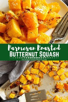 This delicious and easy Roasted Butternut Squash is a quick and easy side dish that's healthy! I love the addition of Parmesan cheese to make it the BEST Roasted Butternut Squash ever. Plus, this Parmesan Roasted Butternut Squash goes great with Chicken o Butternut Squash Sweet Potato Recipes, Butter Squash Recipe, Oven Roasted Butternut Squash, Butternut Squash Casserole, Chicken And Butternut Squash, Parmesan, The Best, Easy