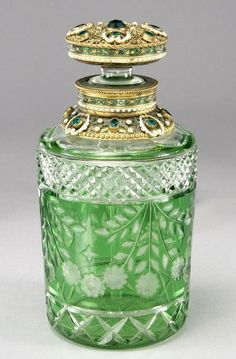 Bohemian cut glass perfume bottle From Pinterest - Visit liveauctioneers.com