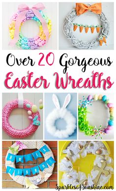 Why buy when you can DIY? Check out this collection of over 20 gorgeous Easter Wreaths you can make. via crafts to sell Over 20 Gorgeous Easter Wreaths You Can Make - Sparkles of Sunshine Easter Crafts To Make, Easter Crafts For Toddlers, Crafts To Make And Sell, Easter Ideas, Easter Projects, Easter Activities, Fun Craft, Craft Stick Crafts, Diy Crafts