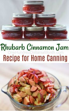 Canning 101 - Rhubarb Cinnamon Jam Recipe - One Hundred Dollars a Month Growing Rhubarb, Rhubarb Recipes, Rhubarb Desserts, Jam And Jelly, Mint Jelly, Jelly Recipes, Wonderful Recipe, Ketchup, Instant Pot