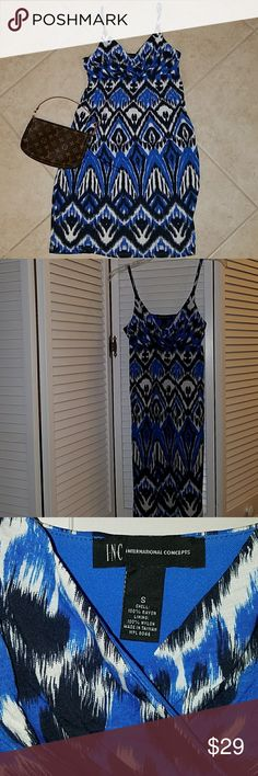 INC pretty spaghetti strap sun dress *PRICE REDUCED* EUC dress, empire waist. Front of skirt has scattered embellishments  (see photos). INC International Concepts Dresses