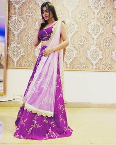 Image may contain: 1 person, standing Indian Lehenga, Lehenga Choli, Sari, Indian Dresses, Indian Outfits, Blouse Designs, Actresses, Purple, Pvp
