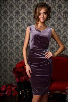 Купить рр.42 Платье бархат арт.5514 - сиреневый, однотонный, бархат, бархатное платье