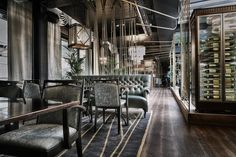 Stylt's latest is an old customs house hard by the waterfront in Stockholm - a rough packaging for sophisticated pleasures, with a Roaring Twenties vibe. At Mr French (who IS that, anyway?) American generosity blends with French finesse and the result is Cafe Bar, Cafe Restaurant, Restaurant Design, Stockholm, Bar Design Awards, French Table, French Windows, Places To Eat, Eating Places