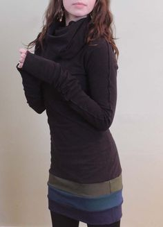cowl tunic dress/extra long sleeves/Black with by joclothing LOVE LOVE LOVE!!!