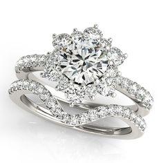 Diamond Halo Wedding Set - Snowflake