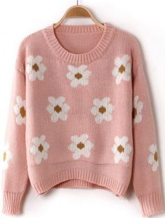 Pink Long Sleeve Sunflower Pattern Knit Sweater pictures