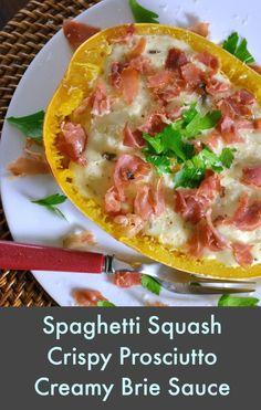 Spaghetti Squash with Crispy Prosciutto and Creamy Brie Sauce Recipe- OMG- this award winning recipe will blow your socks off!