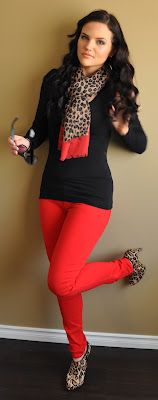 Sizzling HOTTT !!!! Need red jeggings!  Have the shirt, scarf and shoes now only missing leggings. Shopping time!!