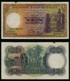 1943 Egypt 10 Pounds Banknote Pick Number 23b Signature Nixon Beautiful Fine or Much Better Currency