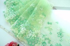 Lace trim Green lace Embroidered tulle lace by raincrazy133, $7.99