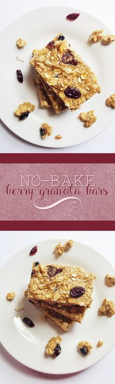 {Healthy, Low Calorie, Vegan} These no-bake berry granola bars are perfect for a yummy snack-- no oven required!