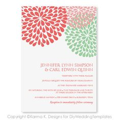 Printable Wedding Invitation Template - Download Instantly - EDIT YOUR TEXT - Chrysanthemum (Coral and Mint)  - Microsoft Word Format