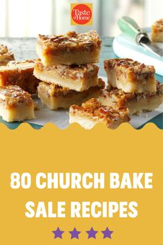 A good old-fashioned church bake sale is hard to beat. These heavenly cookies, bars, breads and pies will inspire you to bake up a few batches of the delicious money-makers at home. Bake Sale Recipes, Bar Recipes, Home Recipes, Cookie Recipes, Chocolate Glaze, Chocolate Peanuts, Strawberry Oatmeal, Pecan Pie Bars, Money Makers