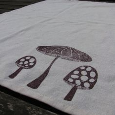 Mushroom Kitchen Towel Lino Cut Block Print by stolenmoments, $16.00