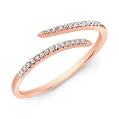 rose gold diamond open embrace ring