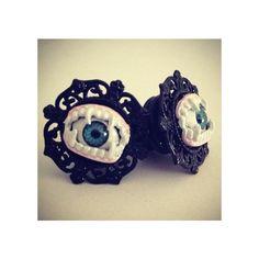 PICK SIZE Evil Eye Vampire Custom Plug earrings Rockabilly psychobilly... ($23) ❤ liked on Polyvore featuring costumes, vampire halloween costumes, rockabilly costume, vampire costumes, pinup costume and vampira costume