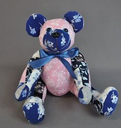 """Traci sent us some of her late mother's nightgowns to have memory bears made for her and her family members. She wanted a 16"""" patchwork bear from all the fabrics for herself and some two-toned bears for family members."""