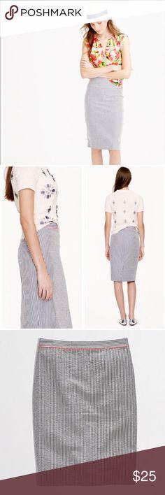 J. Crew Seersucker Pencil Skirt ✔️Pencil Skirt Shape ✔️Navy/White Seersucker Fabric ✔️100% Cotton ✔️Neon Waist Piping ✔️Falls Below the Knee ✔️Back Slit and Zip ✔️Excellent Condition J. Crew Skirts Pencil