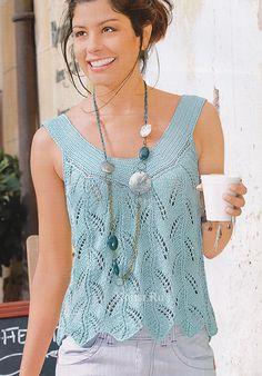 letnii top svyazannii spicami so shemoi uzora i opisaniem vyazaniya Sweater Knitting Patterns, Knitting Stitches, Knit Patterns, Free Knitting, Gilet Crochet, Crochet Blouse, Crochet Tank Tops, Knit Crochet, Diy Pullover