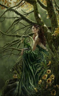 A Green Drake And Its Forest Sorceress Keeper