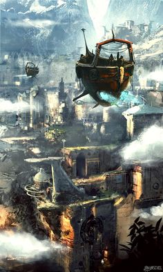 Ancient cities in the Many Worlds have adapted to the prevalence of Sky Timber transport, introducing landing pads and other conveniences for air vessels. (medieval flying ship by Jan Urschel)