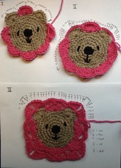 Crochet Granny Squares Blanket Teddy Bear Granny Square - FREE Pattern - How sweet are these crochet Teddy Bear Granny Squares and you can use them for blankets, pillows or cushions. Check out all the ideas now! Motifs Granny Square, Granny Square Crochet Pattern, Crochet Squares, Crochet Blanket Patterns, Crochet Motif, Crochet Stitches, Granny Squares, Granny Granny, Crochet Symbols