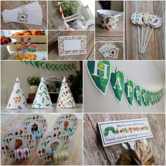 Hungry Caterpillar Birthday Party theme PARTY PACKAGE! Everything you need for your themed party! Banner, party hats, cupcake toppers, blow outs and more! Order in this link! Customize to your guest size.